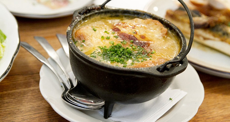 French onion soup at M. Wells Dinette in Hunters Point. (Photo: