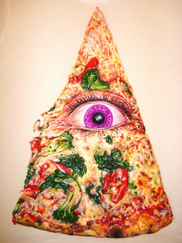 They reblog fun pizza art from places like pizzabreath.
