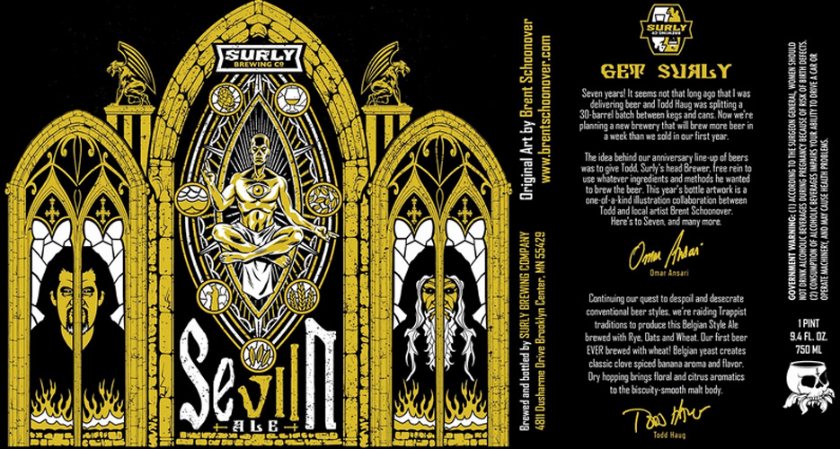 To celebrate Surly's seventh anniversary, head brewer Tood teamed up with local Minnesota illustrator Brent Schoonover to create this one-of-a-kind label.