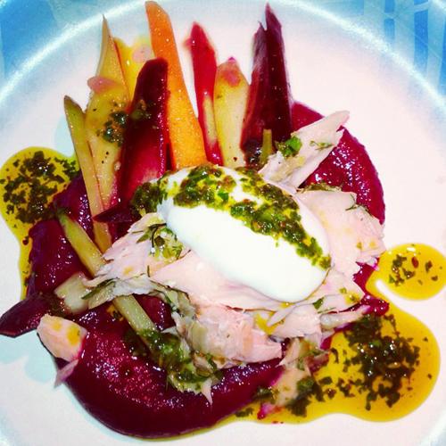 Suzanne Goin & Caroline Styne's slow roasted salmon with cold carrot salad beets and charmoula yogurt. (Photo:  @alizajsokolow)