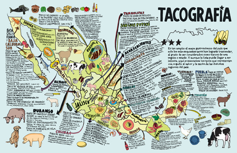 Gastronomic taco map of Mexico. (Photo: Kitzia Sámano)