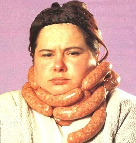 A chain of sausage links is not only delicious but doubles as a scarf.