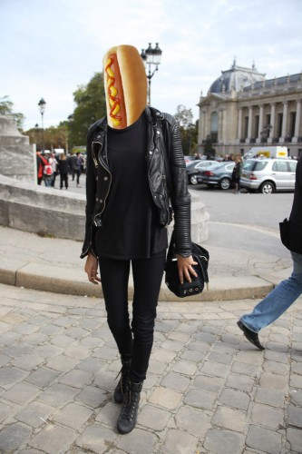 Black is a slimming color, even for a hot dog.