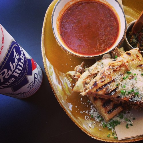 Porchetta dip with sauce and a 24-ounce PBR = dinner. (or snack) of champions. (Photo: @wildcraftpizza)