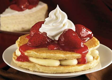 Pancake Stackers from IHOP. Back in 2010, the national temple to calorie-ladened breakfast and stoner snacking served these cheesecake-filled buttermilk pancakes for a limited time. Who needs brunch when you can skip right to bressert? (photo:NBC news)