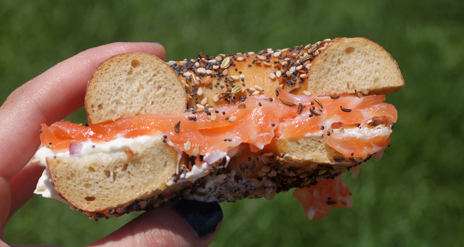 Smoked salmon bagel in the sun. (Photo: Erin Mosbaugh)