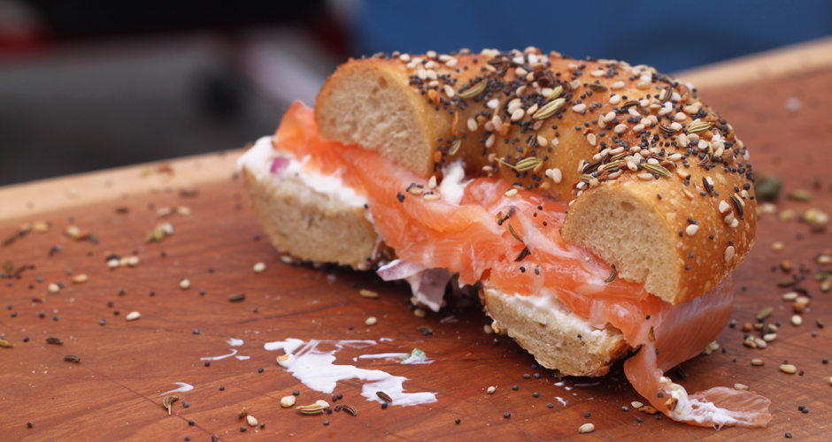 Cured salmon and handmade chive-scallion cream cheese on an everything bagel. (Photo: Erin Mosbaugh)