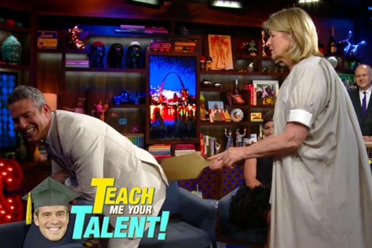 "Stewart gets frisky with Bravo's Andy Cohen, makes him say ""Spank me Martha, spank me."" No joke. (Photo: Bravotv)"