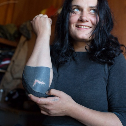 """""""Billie is the toughest fisherwoman I know. So happy to have her on the crew. Last season she got aassive elbow gash. We sewed it up over the kitchen table and she was back to work the next day. Memories permanently scarred in her black tattoo."""""""