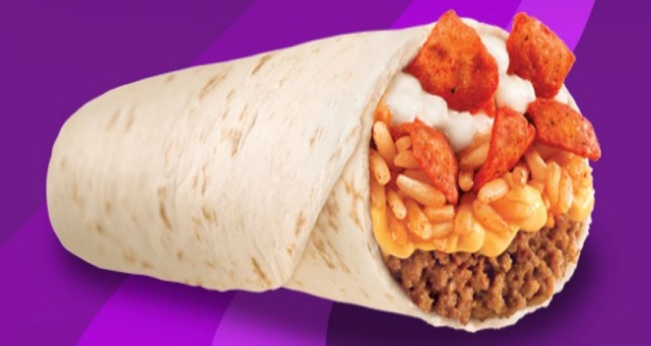 Beefy Crunch Burrito at Taco Bell. This is the first time Taco Bell experimented with chips inside a burrito, deploying Fritos for some crunch. Recently, Taco Bell annouced via Snapchat (naturally) that these are coming back for a limited time. (Photo: Taco Bell)