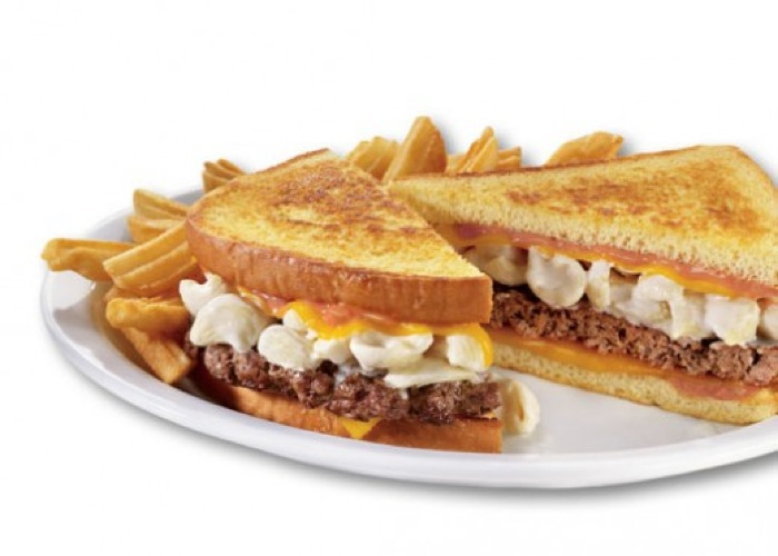 Mac N' Cheese Big Daddy Patty Melt from Denny's. This next-level patty melt not only has all the usual suspects grilled between two buttery pieces of bread, but also an added layer of macaroni and cheese. This is not for the weak of heart. (Photo: Signature 9)