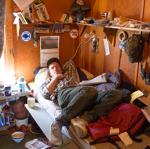 """""""This is Sam, a fisherman from Port Townsend, WA at the Red Salmon bunkhouse."""""""