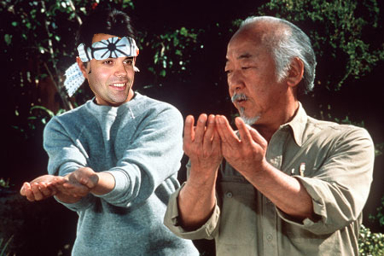 Karate Kid Dominique Ansel received lessons from Mr. Miyagi. Cronut on...cronut off...cronut on...cronut off. (Photo: metro.co.uk)