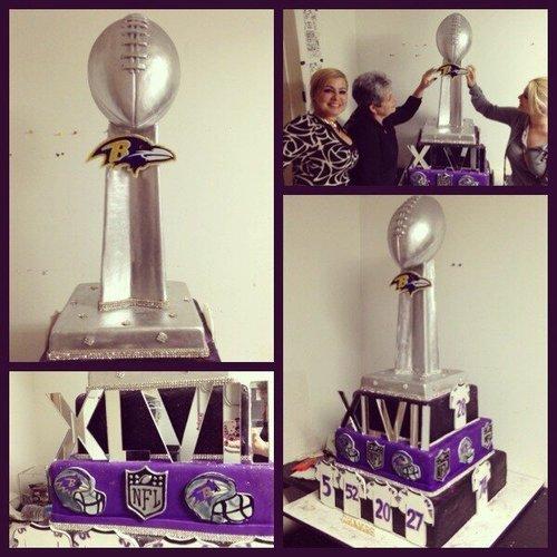 Divine Delicacies' Baltimore Raven's Super Bowl XLVII championship cake. (Photo: Wheretheathleteseat)