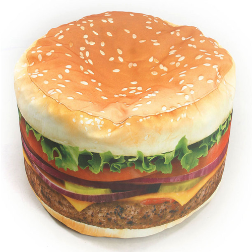 Pop a squat on this oversized, meaty cheese burger chair. Stacked high with patty, lettuce, tomato, pickles, cheese, and onions, this burger bean bag chair is sure to balance the feng shui of any room in your house. Order the Wow! Works designed burger chair on