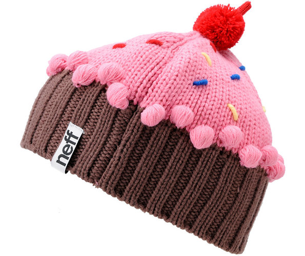 Neff Headwear offers up a line of mouth-watering cupcake beanies. They have a lengthy menu of flavors including chocolate, strawberry, vanilla, mint, confetti, and red velvet. Purchase your very own cupcake beanie at