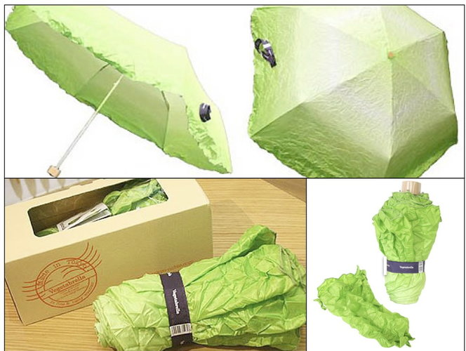 The Vegetabrella is undeniably the sleekest way to keep yourself dry. Made in Tokyo by design company Tokyo Noble, the Vegetabrella comes packaged and rolled up to resemble a head of Romaine lettuce. The Vegetabrella is available at