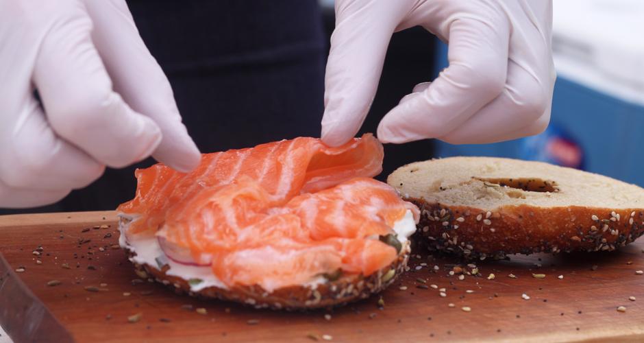 Prepping the smoked salmon bagel. (Photo: Erin Mosbaugh)