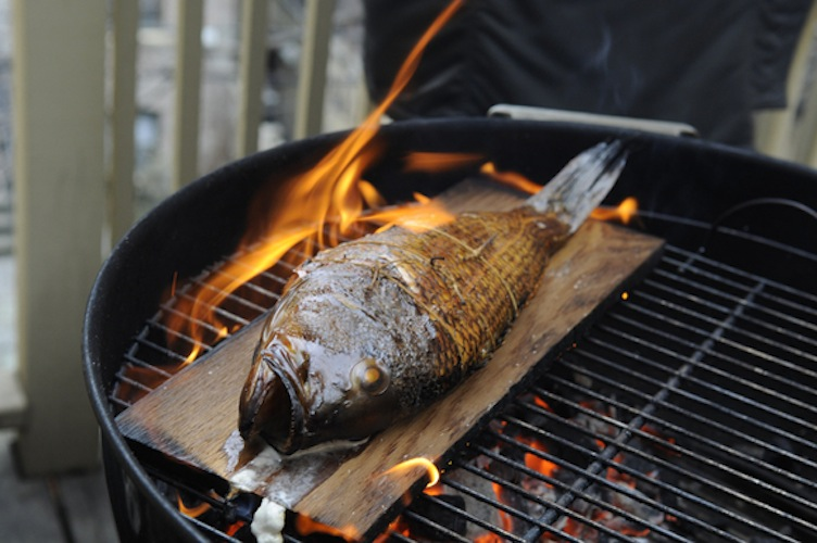 Cedar Plank Grilled Loup De Mer (Sea Bass). The cedar wraps the sea bass in a sweet smokiness without overwhelming its gentle flavor. If you're ever looking for a dish that'll be a visual showstopper, this is it.