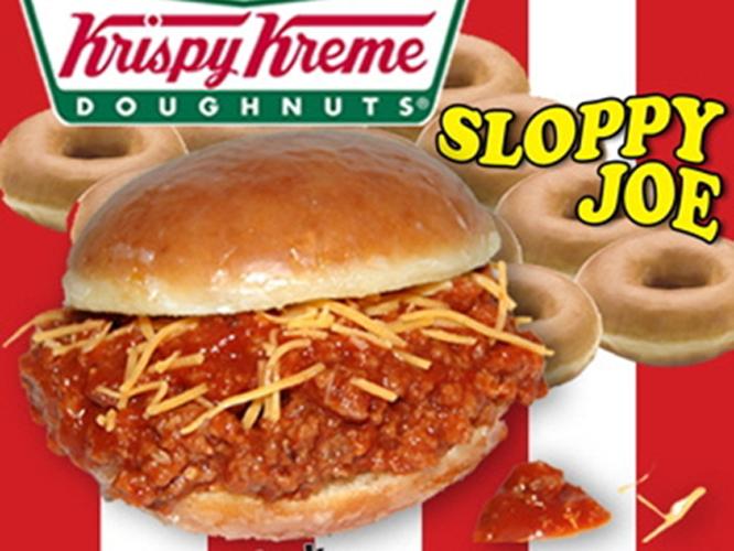 The Krispy Kreme Sloppy Joe doughnut sandwich at Chicken Charlie's is a halved glazed doughnut stuffed with cheese and Sloppy Joe meat. (Photo: lohud.com)