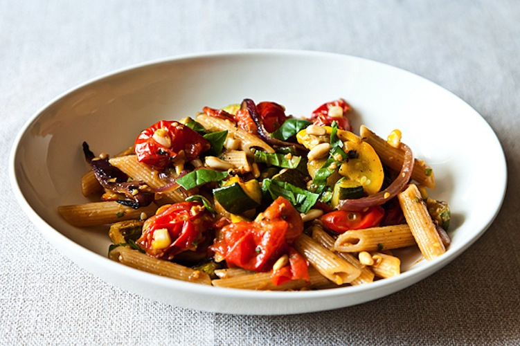 Penne with Sweet Summer Vegetables, Pine Nuts, and Herbs. Sweet corn, bursting cherry tomatoes, and tender zucchini lighten up a savory, satisfying bowl of pasta.
