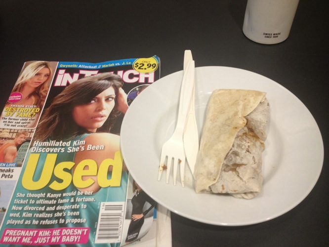 """""""Veggie burrito with a side of trash. (Everyone knows Kim wasn't used. Jeez)"""""""