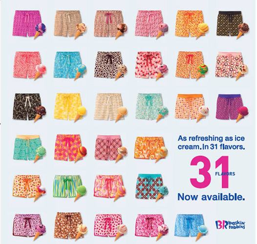 31 flavors of shorts, now available at Uniqlo. (Photo:  Facebook)