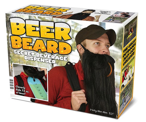Look like a badass mountain man and get buzzed while you do it with the Beer Beard. Available at Bitrebels.com
