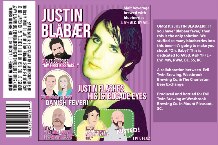 """The """"So Bad, It's Good"""" award goes to this (intentionally) bizarre ode to blueberries and Justin Bieber from Evil Twin, Westbrook Brewing Co., and the Charleston Beer Exchange."""