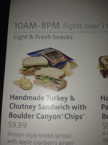 """Not technically """"artisan,"""" but it is airplane food claiming to be handmade."""