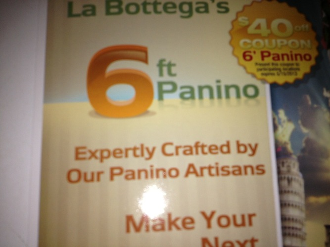 Six-foot artisan panini deliver quality and quantity.