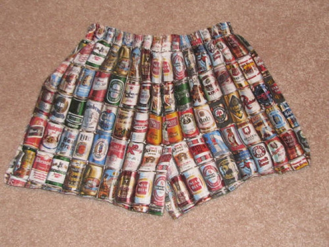 Relive your college days (or, more like, your parent's college days) with vintage beer can boxers. Available online at