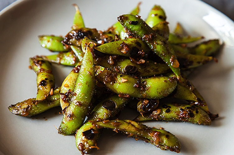 Black Bean Orange Peel Edamame. The biggest rookie mistake at a sushi restaurant is filling up on the edamame before the sushi rolls come. We don't blame you—in fact, here's a recipe for edamame that's even more delicious than any you'll eat out of the house. The edamame is bathed in a savory, tangy sauce so good, you'll be fighting to lick the sides of the bowl.