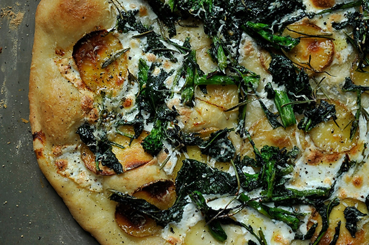 Broccoli Rabe, Potato, and and Rosemary Pizza. Ah, pizza. Is there any better way to eat cheese than when it's bubbling atop a thin crust that's rich with olive oil and perfumed by garlic? On this pie, soft mozzarella cheese and nutty Parmesan buddies up with potatoes, broccoli rabe, and rosemary for a combo so sophisticated that it won't matter if you use a store-bought crust.