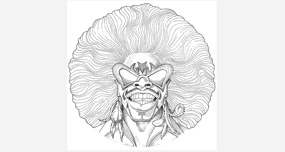 The original line drawing for Jester King's Funk Metal Sour Barrel-Aged Stout, by Josh Cockrell.