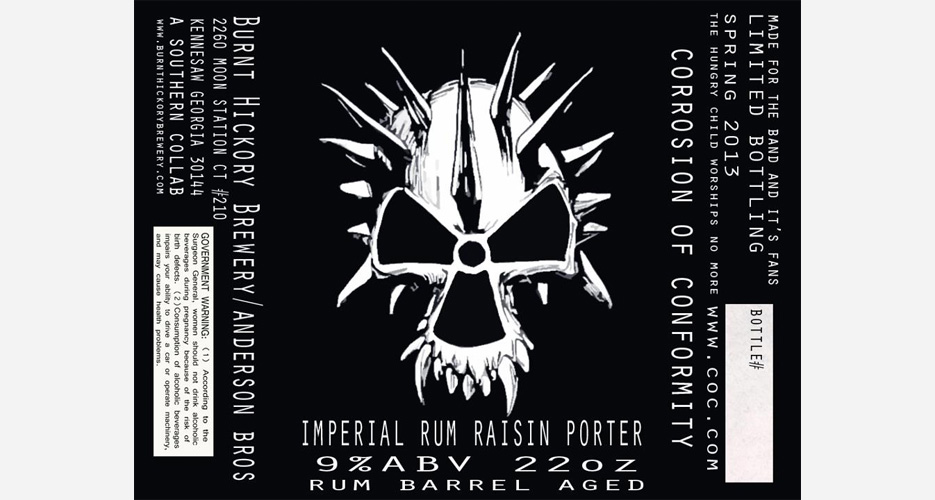 Burnt Hickory Brewery's Corrosion of Conformity Imperial Rum Raisin Porter