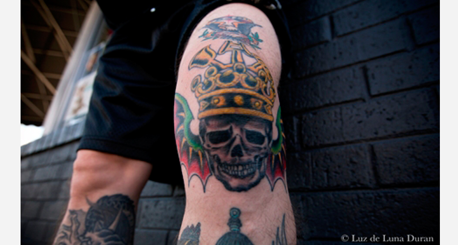 """This is one of two Three Floyds tattoos on Municipal Waste drummer, Dave Witte. """"The cat lover in me needed a Gumball Head tattoo as well,"""" he explains."""