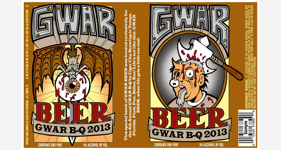 GWAR B-Q Beer, which was created by a homebrewer fan and produced by Cigar City Brewing, will be available exclusively at GWAR B-Q on August 17 in Richmond, VA.