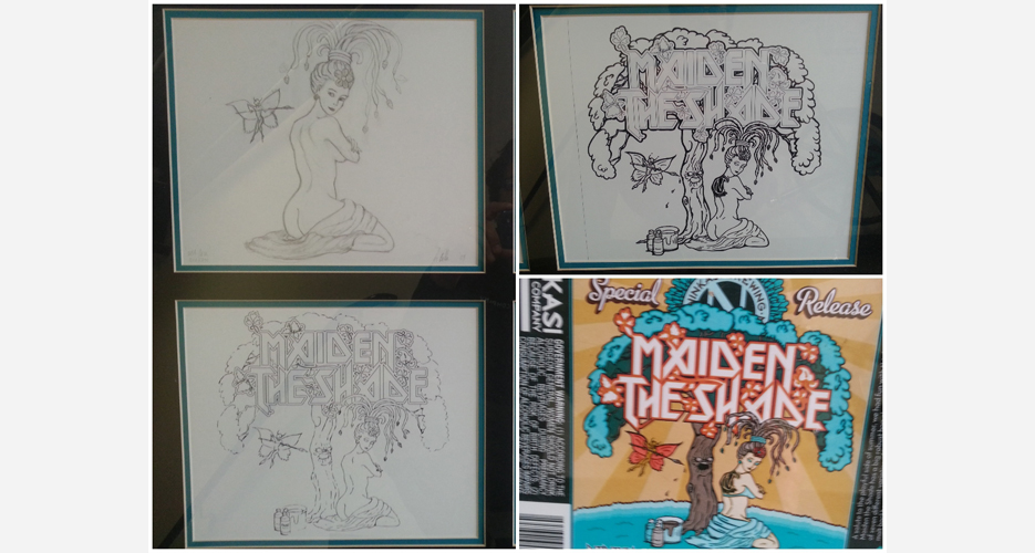 The evolution of the artwork for Ninkasi's Maiden the Shade Specialty Ale, by Annabelle Garcia (daughter of the late Grateful Dead leader, Jerry).