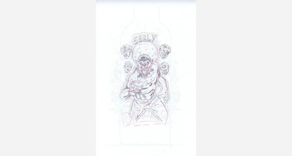This early pencil sketch of what would become Surly's 2012 Darkness Russian Imperial Stout was drawn by Brent Schnoonover.