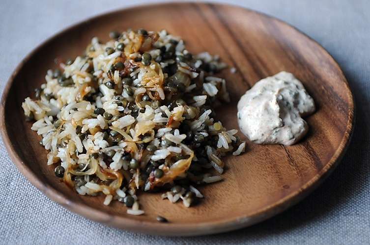 Mujaddara with Spiced Yogurt. Someone once told us that the combination of lentils, onions, and yogurt in this Middle Eastern dish gives it magical health powers. But we were too busy stuffing our face with crunchy fried onions and fluffy rice and lentils to pay much attention. We also didn't notice that it was gluten-free—and neither will you.