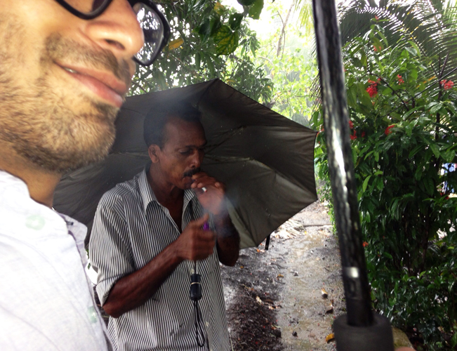 Raju, our most gracious guide, smokes a cigarette with us outside the house. He tells us Arundhati Roy, author of The God of Small Things, is from his village.