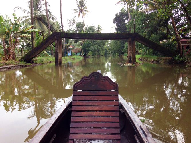 We took a boat ride to the small village of Aimanam, where toddy is extracted from coconut palms.