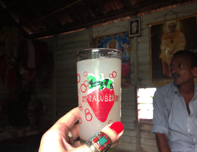 Our tour guide, Raju, tells us that toddy is a gift from God.