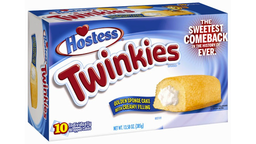 "They'll be more freakishly long-lasting than ever. Before Hostess went out of business, it tweaked the Twinkie recipe to extend its shelf life from 26 to 45 days, maintaining ""freshness"" for a whopping month and a half. Not disturbing at all. (Photo: Hostess)"