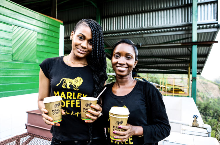 Staff from the Marley Coffee Jamaica team at the Marley Coffee farm