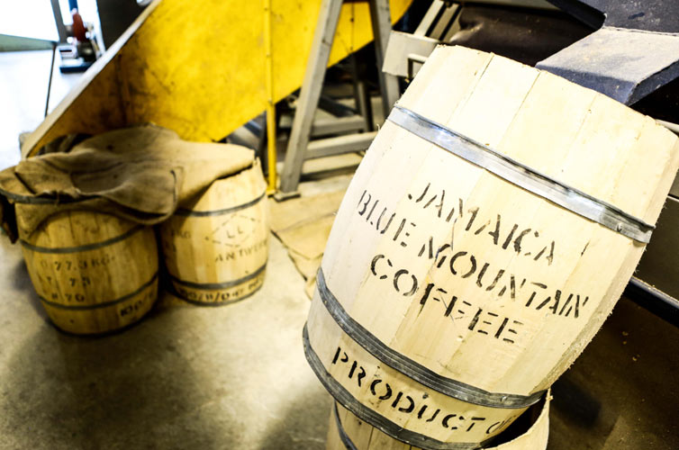 Handmade Blue Mountain barrels at the processing plant in Kingston