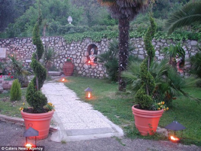 The candlelit driveway.