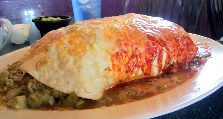 The 7-lb Breakfast Burrito at Jack-n-Grill. Jack-n-Grill offers free food for life to any woman who can finish their gargantuan breakfast burrito. Now that's motivation. (Photo: