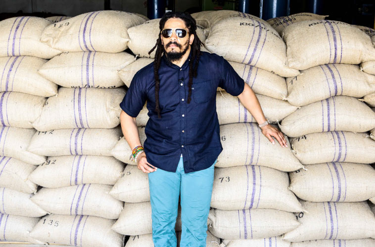 Founder and Chairman of the Board Rohan Marley with his coffee